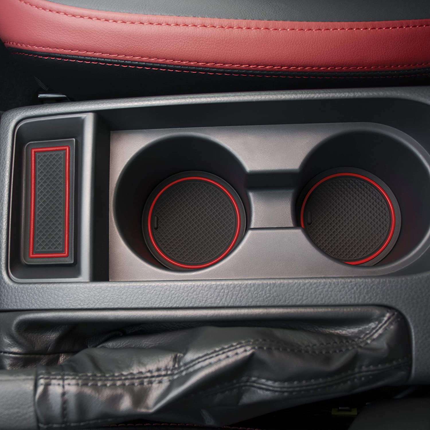 VCiiC Custom Fit Interior Cup Holder Inserts Door Liner Accessories for Subaru WRX 2015 2016 2017 2018 2019 2020 Red Trim