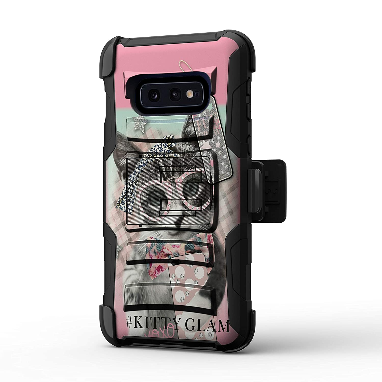 TurtleArmor | Compatible with Samsung Galaxy S10e Case | S10e Case | S10 Lite Case | G970 [Hyper Shock] Hard Reinforced Rugged Impact Belt Clip Holster Kickstand Girls - Hipster Cat