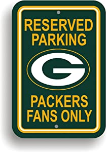 "Fremont Die NFL Green Bay Packers Team Sign, 12"" x 18"", Reserved Parking Sign"