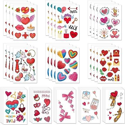 TUPARKA 340 piezas 44 hojas Tatuaje temporal del día de San ...
