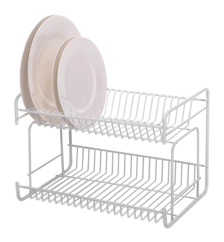 Delfinware 2 Tier Small Plate Rack, White: Amazon: Kitchen & Home