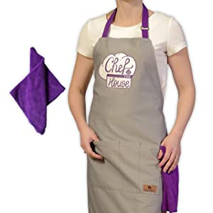 GrilliACS Gardening / Cooking Apron for Women / Men, Professional Chef Bib Apron for BBQ, Grill, Kitchen, Baking, 3 Pockets, Big Towel, Mothers Mom Day / Birthday Funny Adjustable Aprons