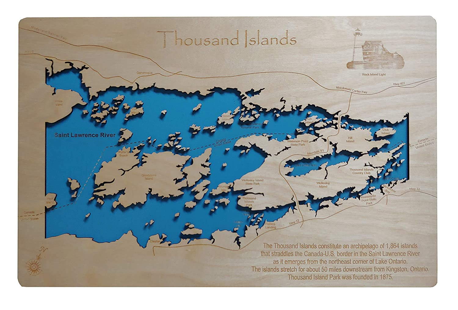 Thousand Island Map Canada Usa Amazon.com: Thousand Islands: Standout Wood Map Wall Hanging: Handmade