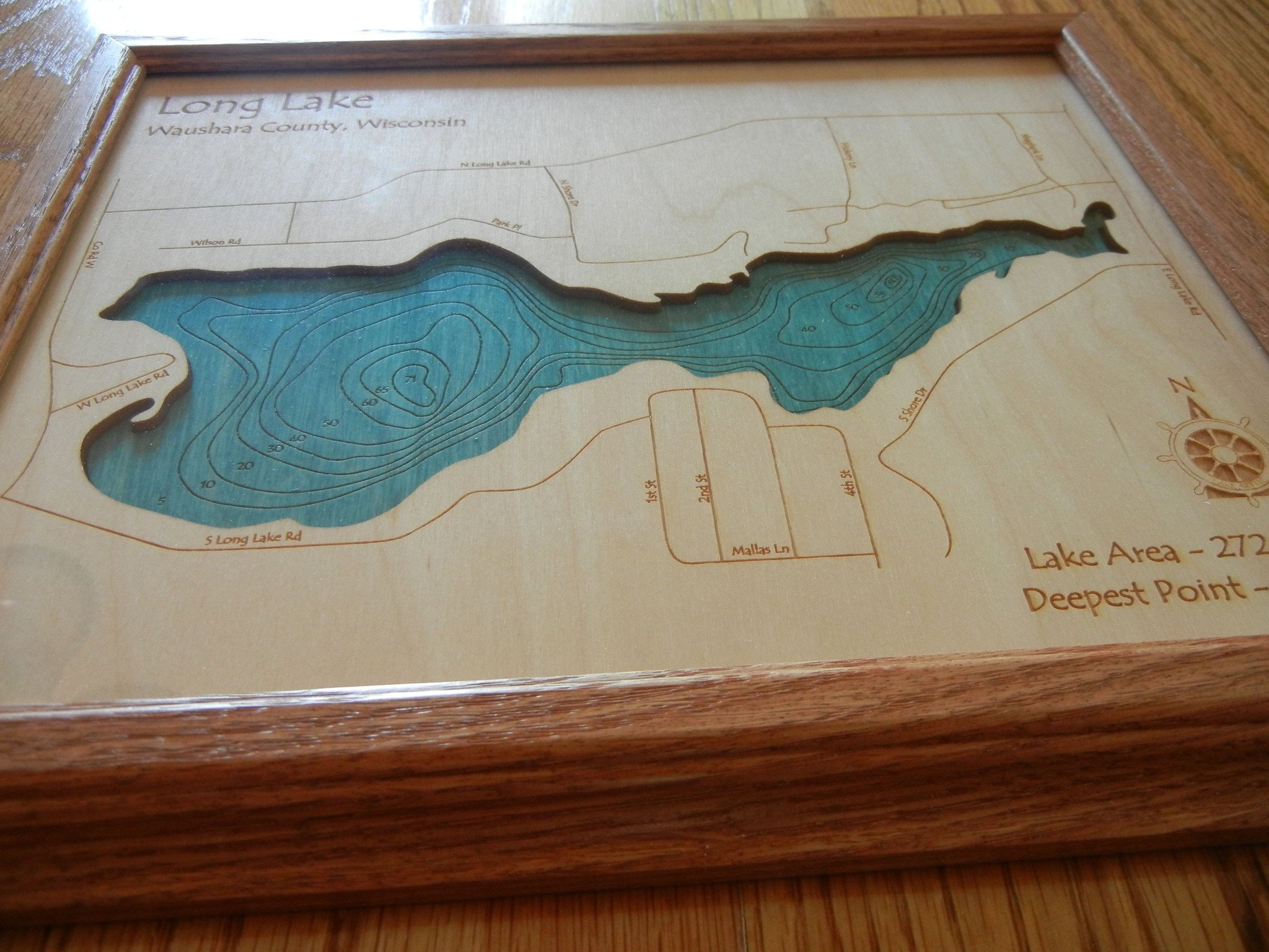 Lake Hamilton in Garland, AR - 2D Map 8 x 10 IN - Laser carved wood nautical chart and topographic depth map. by Long Lake Lifestyle (Image #4)