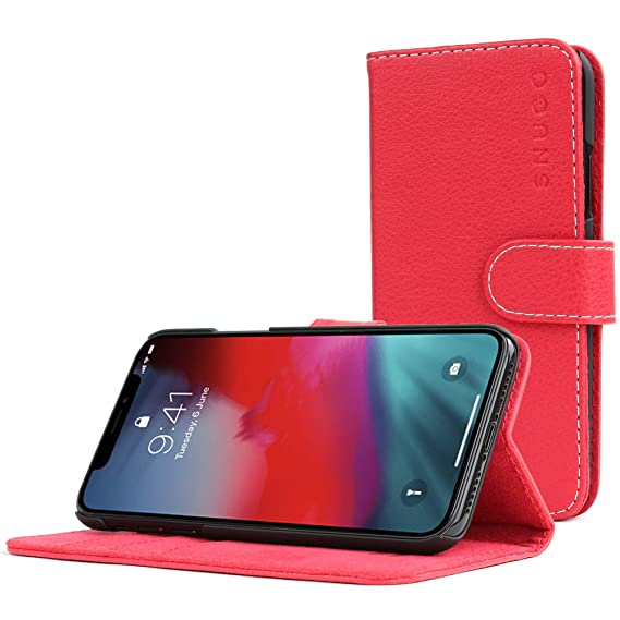 Amazon Com Snugg Iphone Xr Case Snugg Red Leather Flip Case Card