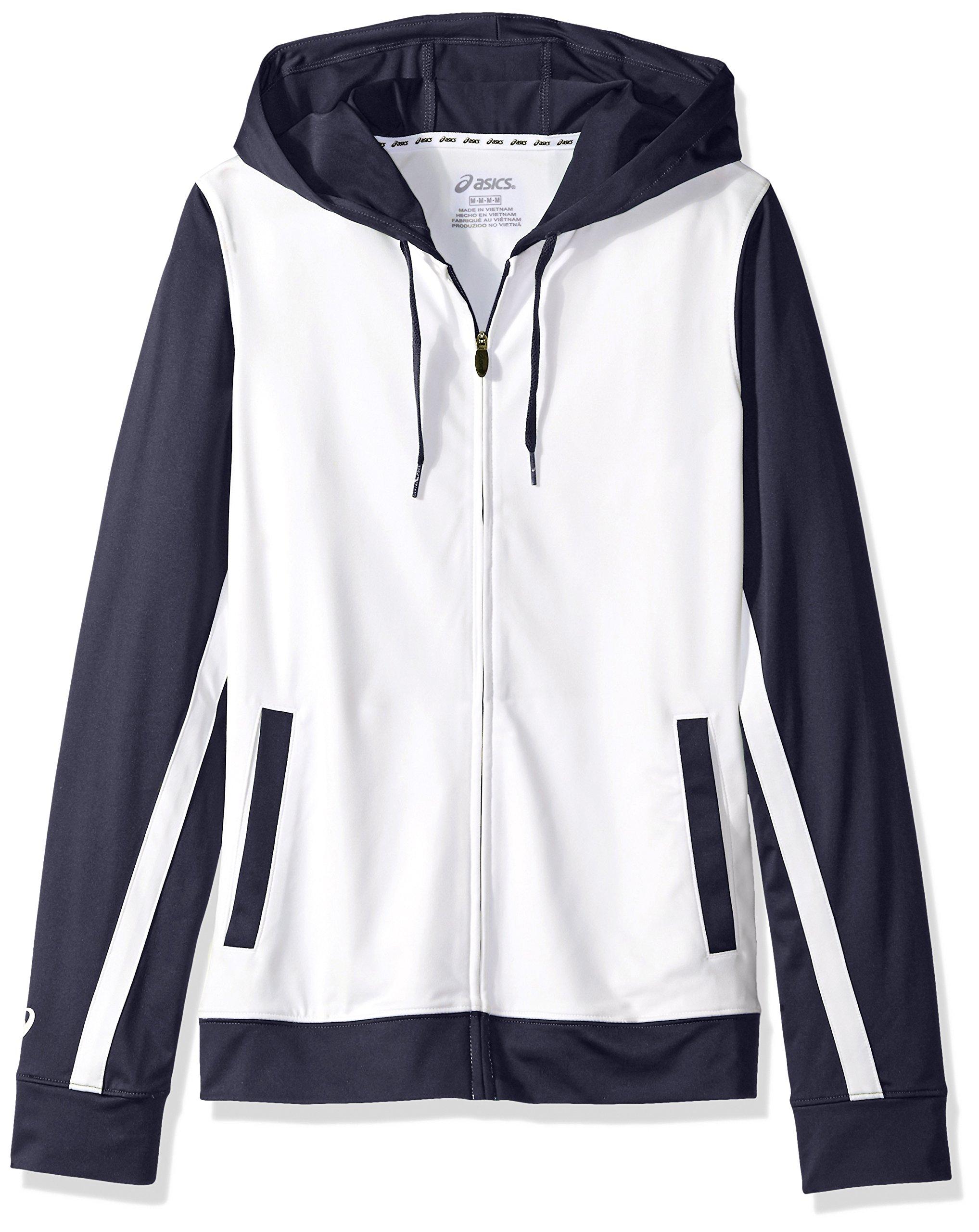 ASICS Unisex-Child Jr. Lani Jacket, White/Navy, Large by ASICS
