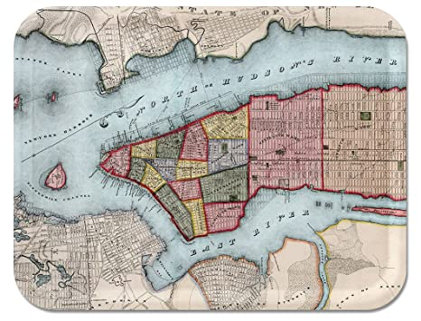 Amazoncom Trays4us Manhattan 1840 Vintage Map Birch Wood Veneer - Us-map-1840