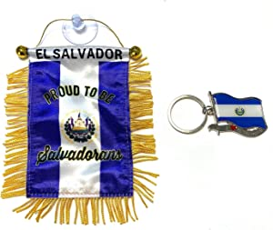 PRK 14 El Salvador Flag for Car and Keychain Combo Pack Salvadoran Automobile Accessories Small Mini Banner haning Rearview Mirror Sticks to Glass Quick and Easy Home Window Decoration