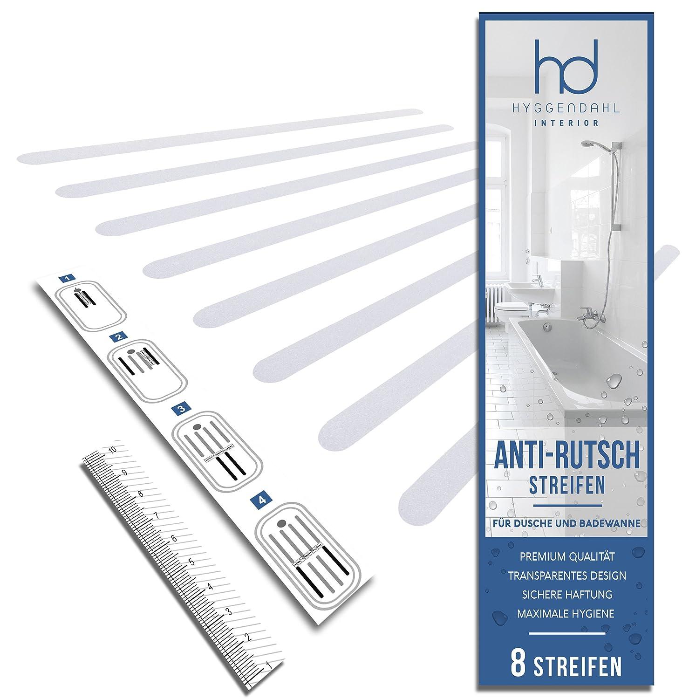 HYGGENDAHL HD - Strisce antiscivolo per bagno, Plastica, trasparente, 8 Streifen Fa.Thomas Lindberg