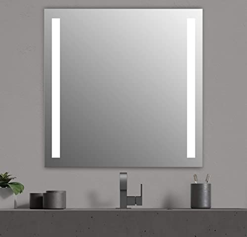 Seura 42 x 42 inch Lumin LED Lighted Bathroom Wall Mounted Dimmable Mirror
