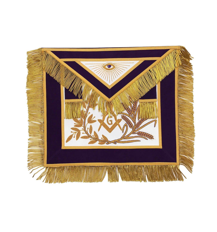 MasonicマスターMasonゴールド/シルバーハンドメイド刺繍エプロンパープル  Gold Embroidery B074XBKT6V