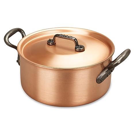 Cacerola de cobre de 20cm con asas de hierro fundido y tapa a juego