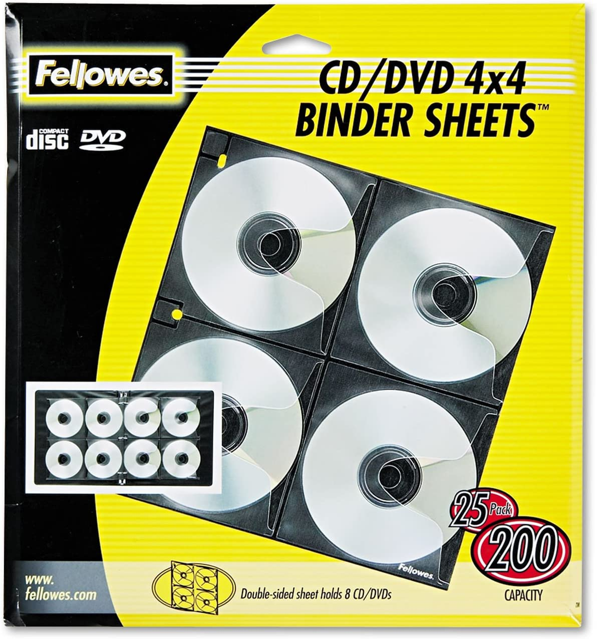 3-Hole Punched 25//PK Letter Fellowes 95321 CD//DVD Binder Sheets Clear