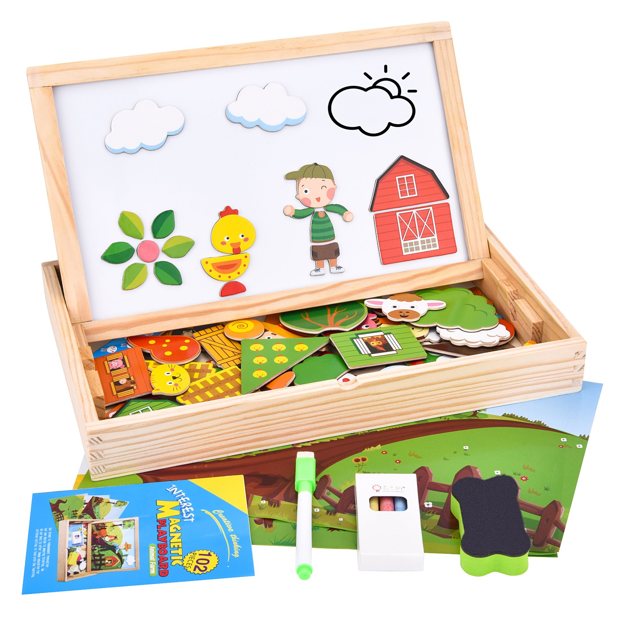 Wooden Magnetic Puzzle, 102 Pieces Animals Learning Educational Wooden Jigsaw Puzzle Toys, Puzzle Games Double Sided Magnetic Drawing Board for Kids with 3 Background Cards (Animal Farm)