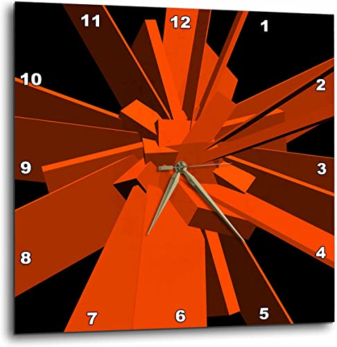 3dRose 3D Rose Boxes Orange Cubes Stretched into Rectangles Randomly Arranged – Wall Clock, 13-inch DPP_18421_2