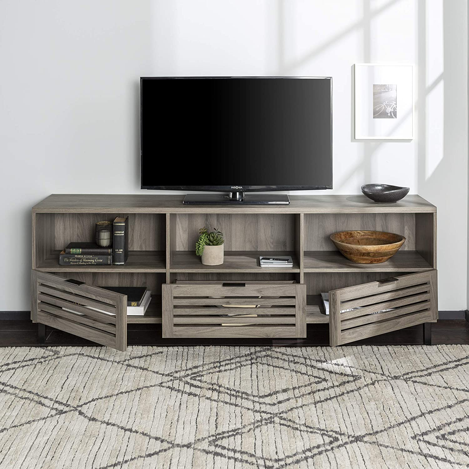 Walker Edison Modern Slatted Wood 80 Universal Tv Stand For Flat Screen Living Room Storage Cabinets And Shelves Entertainment Center Slate Grey Furniture Decor