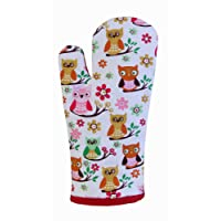 Homescapes - Pure Cotton Oven Glove - Owls - Red Blue - 18 x 32 cm - Fully Coordinated Washable Kitchen Linen