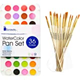 Watercolor Cake Set, 36 Watercolor Paint Set and 12 Paint Brushes. This Watercolors Set are Great for Children / kids and beginner artists. The perfect brushes and water color pan set.