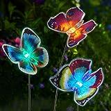 Solar Garden Lights Outdoor, 3 Pack Solar Stake Lights Multi-Color Changing LED, Fiber Optic Butterfly Decorative Lights, for