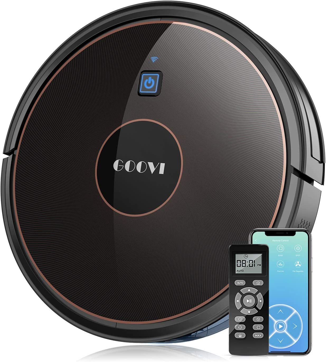 GOOVI Robot Vacuum, 1600Pa Wi-Fi Robotic Vacuum Cleaner (Slim) with Alexa, Quiet, Self-Charging Vacuum, for Pet Hair, Hard Floor, Medium-Pile Carpets