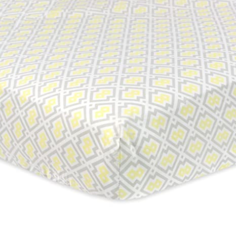 Amazon.com : Just Born Cotton Fitted Crib Sheet, Grey/Yellow/White : Baby