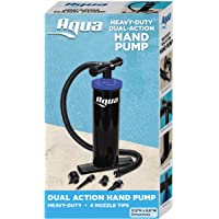 Aqua Double Quick, Heavy Duty Air Pump for Inflatables, Air Mattresses, Sports Balls, Dual-Action Hand Pump, 4 Nozzle Attachments, Black