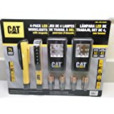 CAT 4-pack LED Worklights with Magnets, and Includes 12 Duracell AAA Alkaline Batteries by Caterpillar