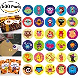 Halloween Stickers for Kids, Roll Stickers with Pumpkin Monster Witch and etc 30 Cute Designs, Perfect for Halloween Candy Bags Fillers or Prizes, 500 Pieces