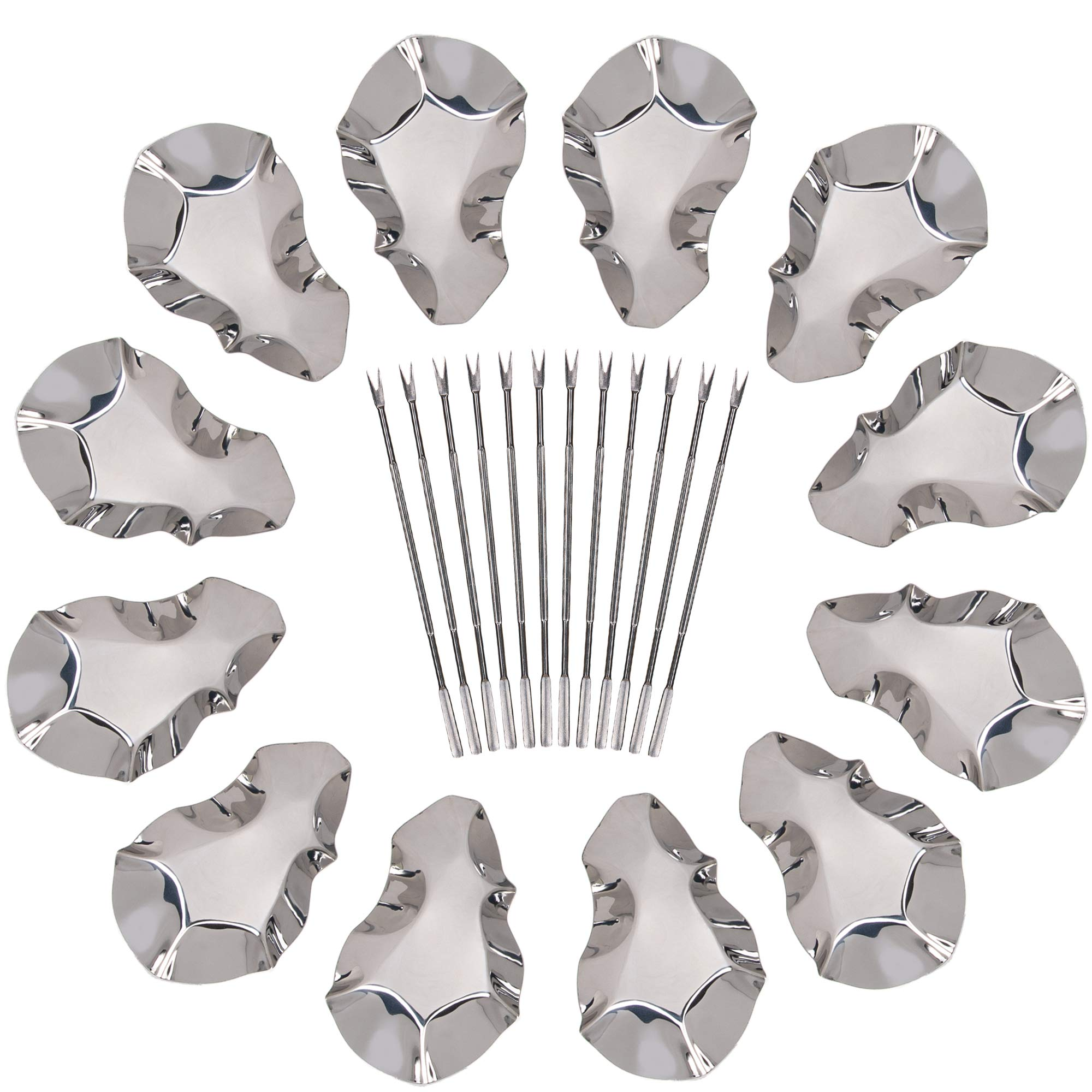 Oyster Shells Stainless Steel Reusable Grill Tray Serving Shell 12 Pack for Grilling and Cooking Oysters 24 Piece Set Seafood Tools Complete with 12 Forks