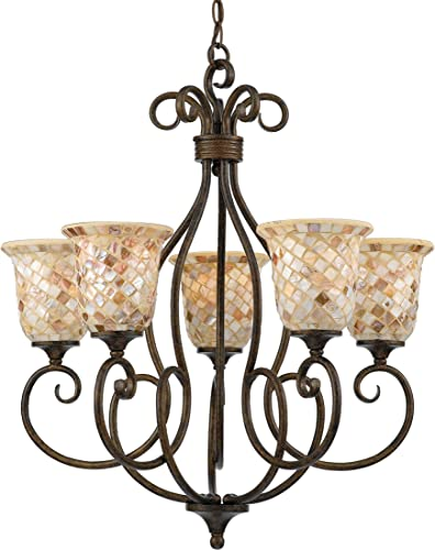 Quoizel MY5005ML Monterey Pen Shell Mosaic Chandelier, 5-Light, 500 Watts, Malaga 29 H x 25 W