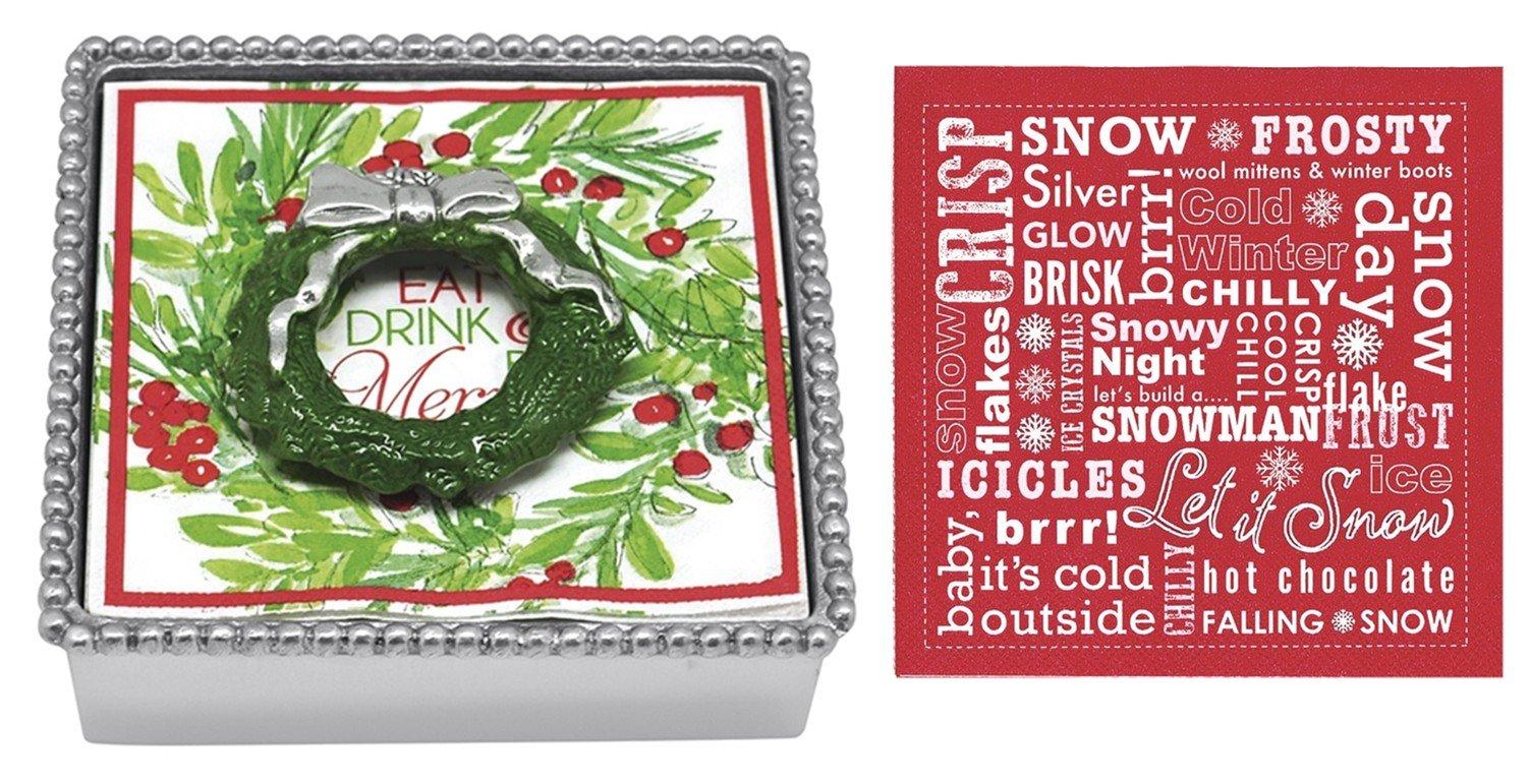 Mariposa Beaded Napkin Box with Green Wreath Napkin Weight & 2 sets of Napkins by Mariposa