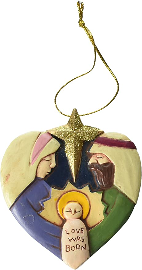 FE-OTC Christmas Resin Ornaments Set Happy Birthday Jesus 4 pc