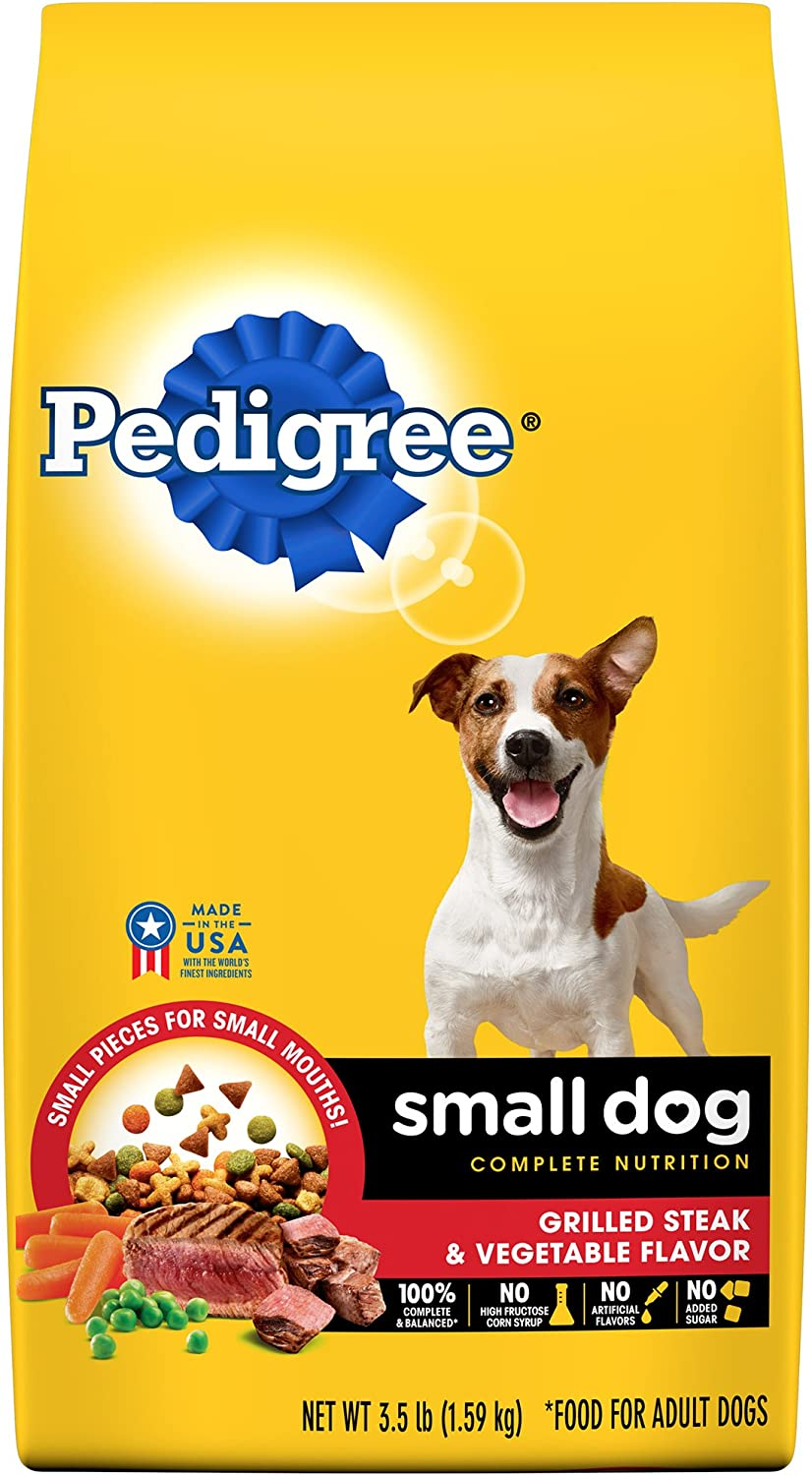 Pedigree Small Dog Complete Nutrition Adult Dry Dog Food Grilled Steak And Vegetable Flavor, (4) 3.5 Lb. Bags