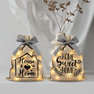 Lighted Burlap Sacks Farmhouse Rustic Decor Battery Powered Lights Decorative Lamp with Fairy Lights Sacks Ribbons for Kitchen Living Room Bedroom Farmhouse Home Decorations Set of 2