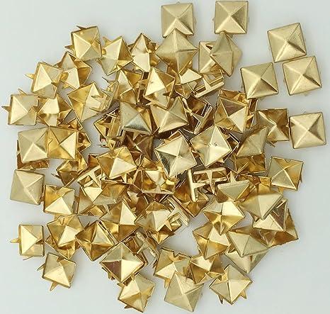 100pcs DIY 8mm Gold Pyramid Rivet Metal Studs Spots Spikes Punk Leathercraft