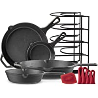 "Cast Iron Skillet Set - 6""+8""+10""+12"" - Pre-Seasoned Oven Safe Cookware Kit - Bonus: 4-Heat-Resistant Silicone Holders…"
