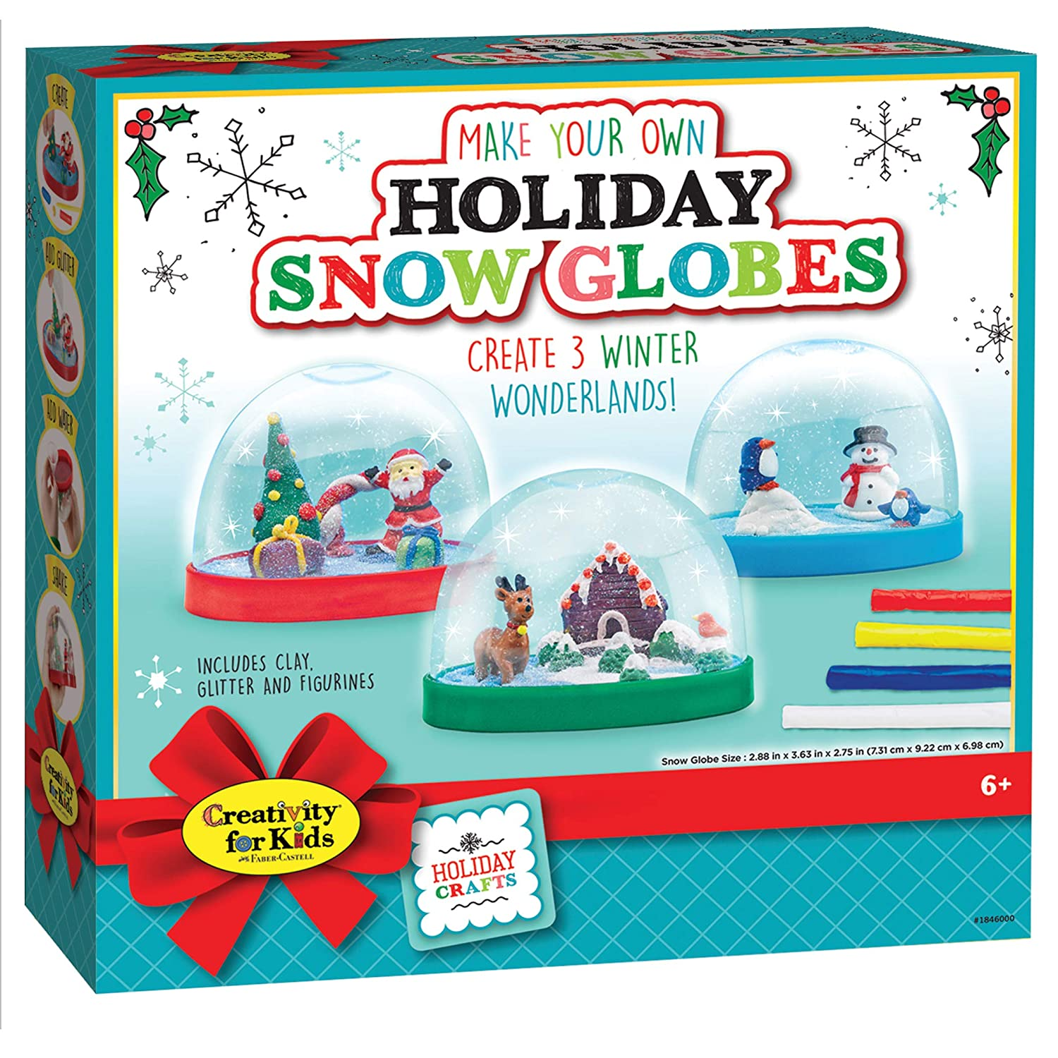Creativity for Kids 1846000 Creativity For Kids Holiday Snow globes - Makes 3 Christmas Snow globes for Kids  New Packaging