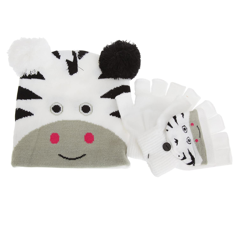 Childrens/Kids Animal Winter Fingerless Mitten Gloves And Bobble Hat Set (One Size) (Brown Giraffe) Universal Textiles UTGL600_3