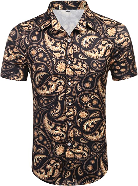 Daupanzees Men/'s Long Sleeve Luxury Design Print Dress Shirt Casual Button Down
