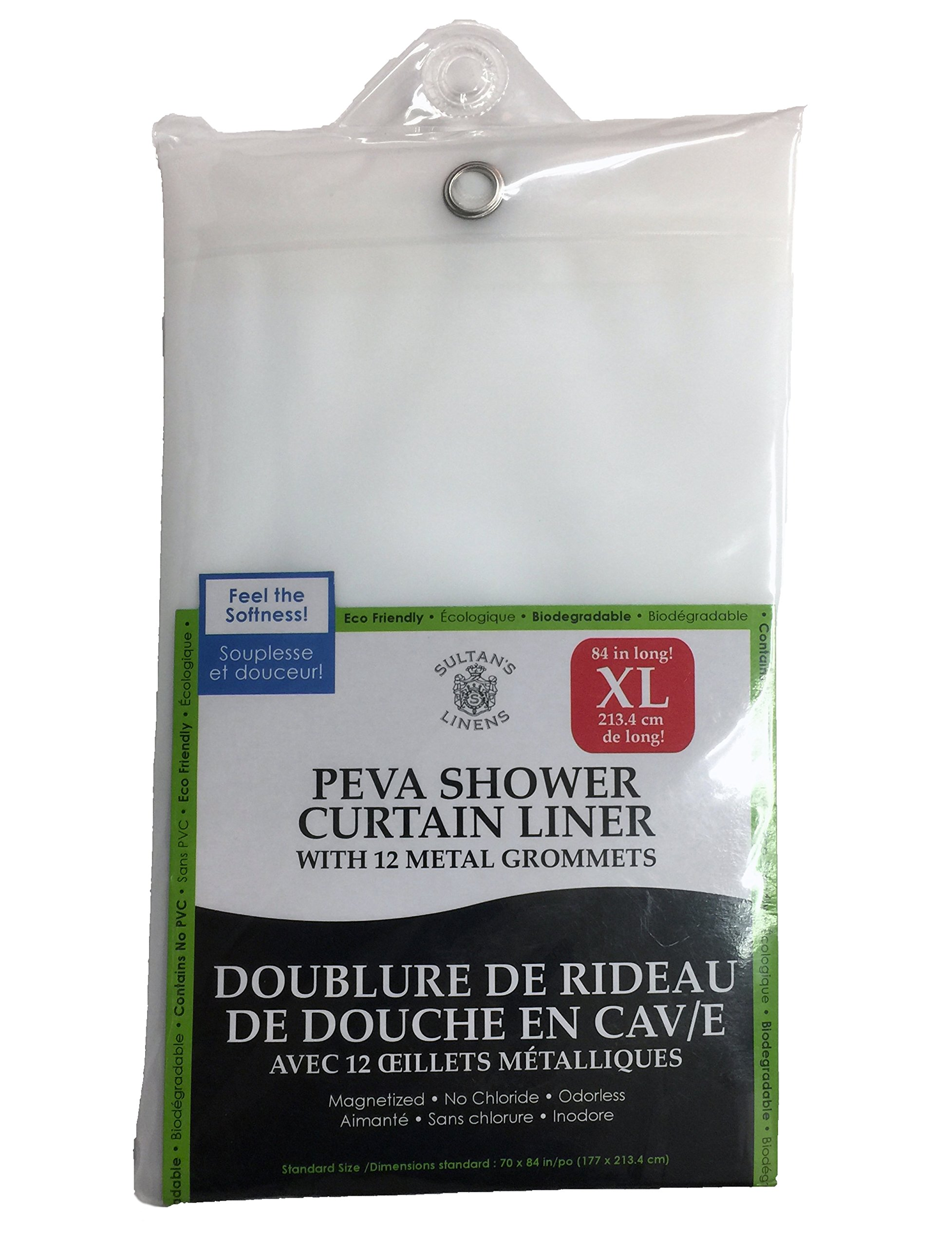 Extra Long PEVA Shower Curtain Liner 84'' Long, Heavy Gauge PEVA, Magnetized, Odorless, Reinforced With Metal Grommets, Clear