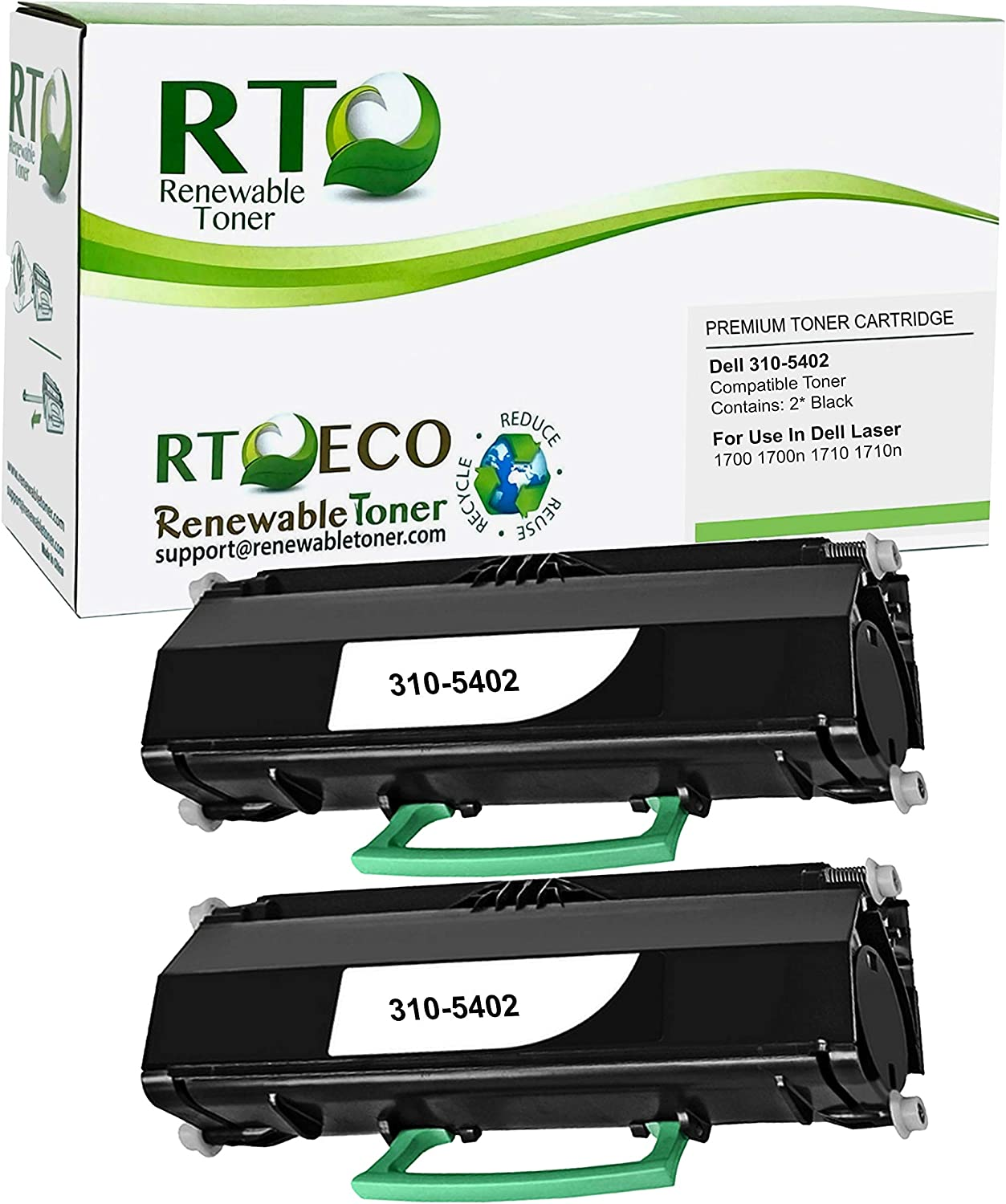 Renewable Toner Compatible Toner Cartridge Replacement for Dell 310-5402 Laser 1700 (Pack of 2 Black)