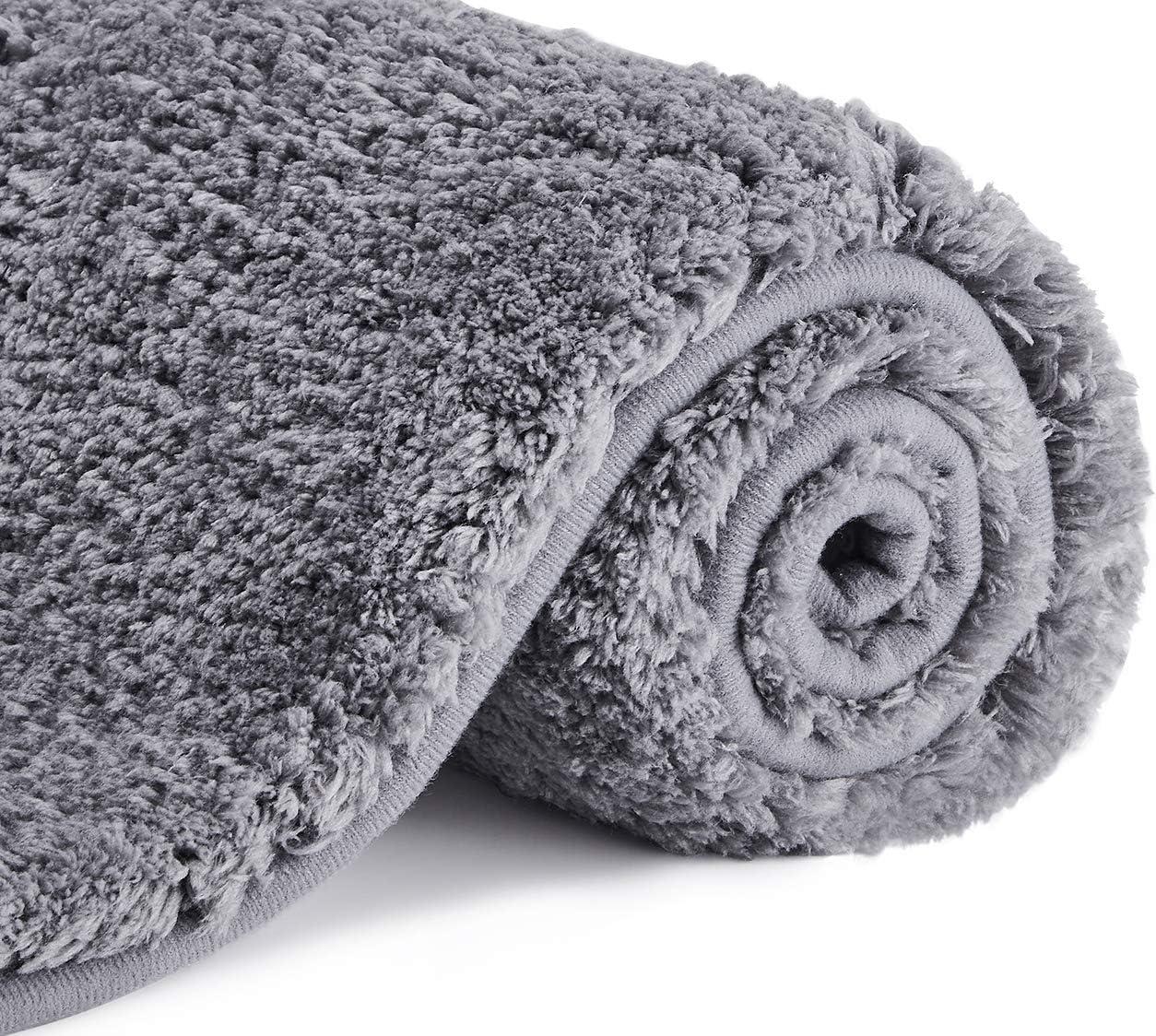 Dark Grey Absorbent Bathroom Floor Mats Washable defway Non Slip Bath Mat Large Thick Bath Mats Soft Shaggy Bath Mats for Bathroom 80 * 50cm