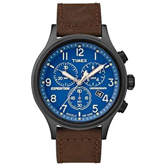 Timex Mens TW4B15900 Expedition Scout Chrono Brown/Black/Blue Leather Strap Watch