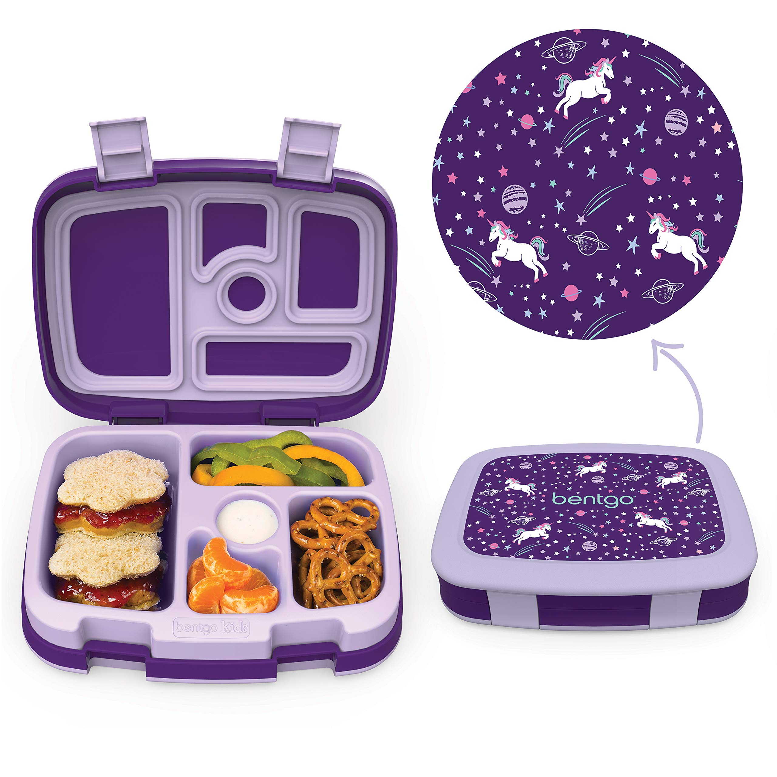 Bentgo Kids Prints (Unicorn) - Leak-Proof, 5-Compartment Bento-Style Kids Lunch Box - Ideal Portion Sizes for Ages 3 to 7 - BPA-Free and Food-Safe Materials by Bentgo