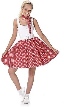Generique - Disfraz años 50 Rojo con Puntos Mujer: Amazon.es ...