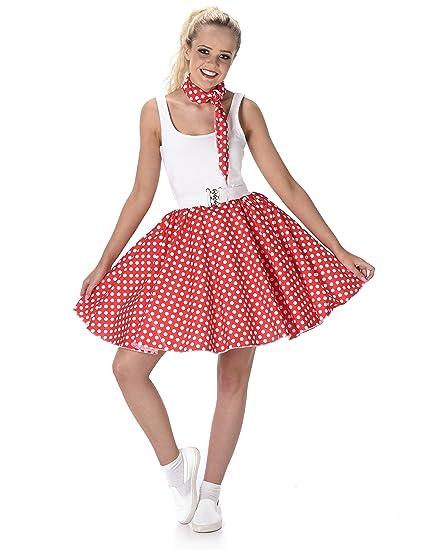 Generique - Disfraz años 50 Rojo con Puntos Mujer