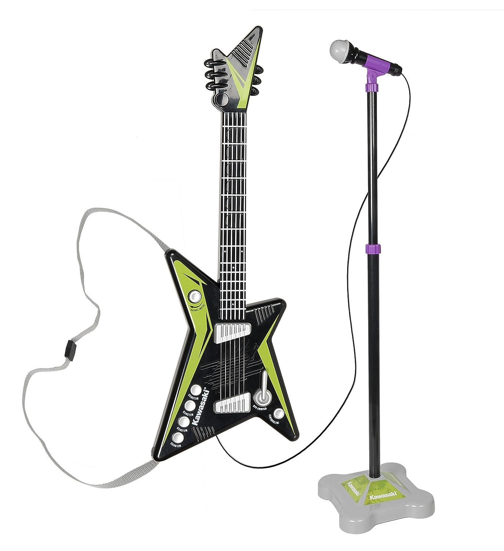 Amazon com: Kidz Toyz Kawasaki Guitar and Stage Mic Set: Toys & Games