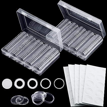 Cápsulas de monedas de 30 mm y 5 tamaños (17/20/25/27/30 mm) Estuche para monedas de protección con caja de organizador de almacenamiento para ...