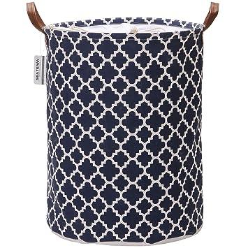 Faltbarer Aufbewahrungskorb aus grauem Leinen mit Langen Henkeln Laundry Basket LATIJA maritimer W/äschekorb Stabiler und stylisher W/äschesammler runder W/äschesack; H: 40 x 50 cm;