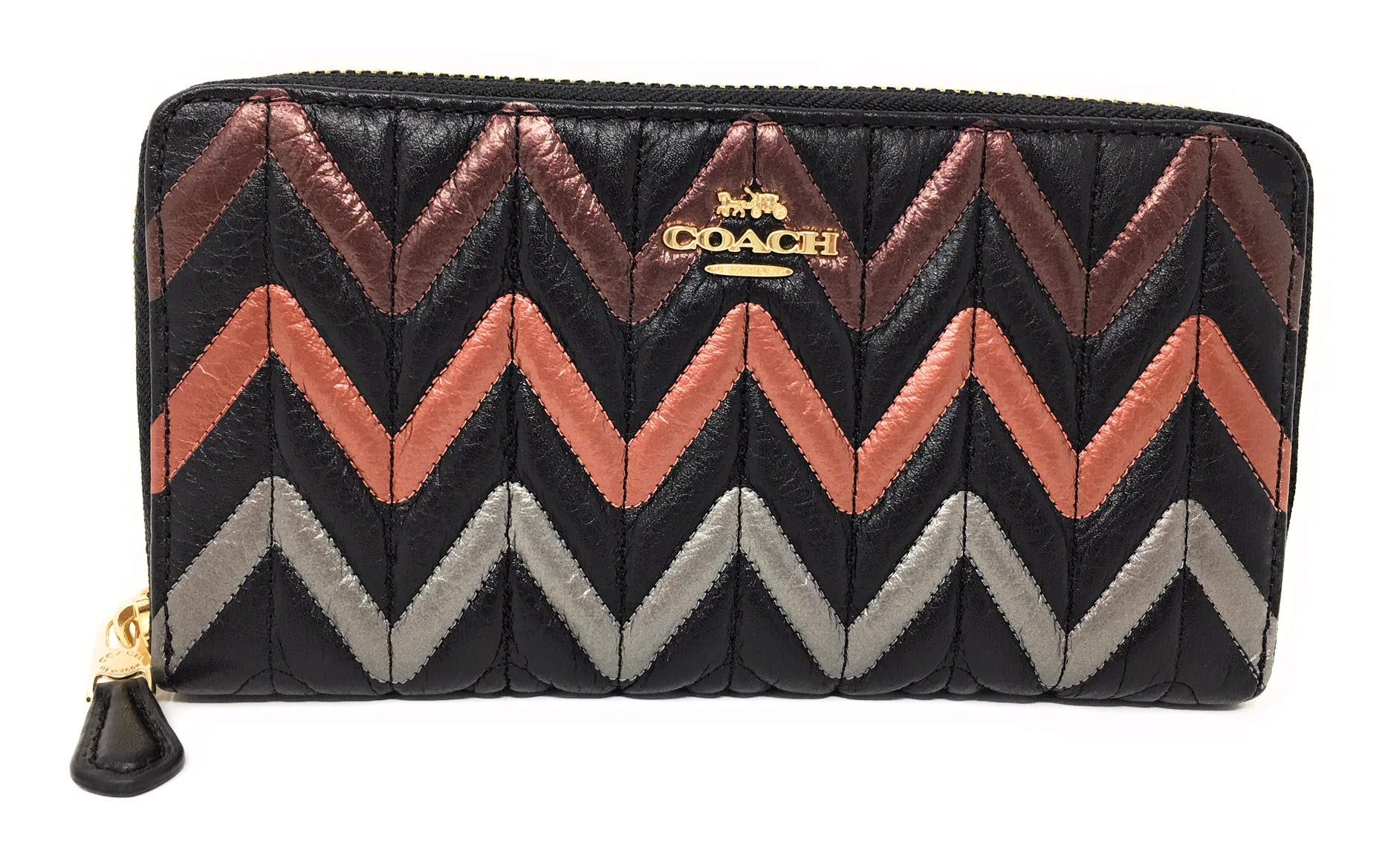 COACH ACCORDION ZIP WALLET WITH QUILTING BLACK/MULTI